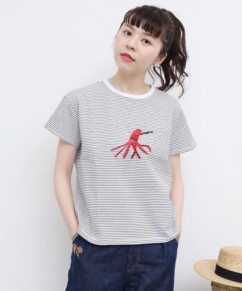 【予約販売】○海の友達 ワッペン刺繍Tシャツ