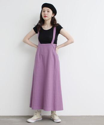 C/ボタンホール刺繍 吊りスカート