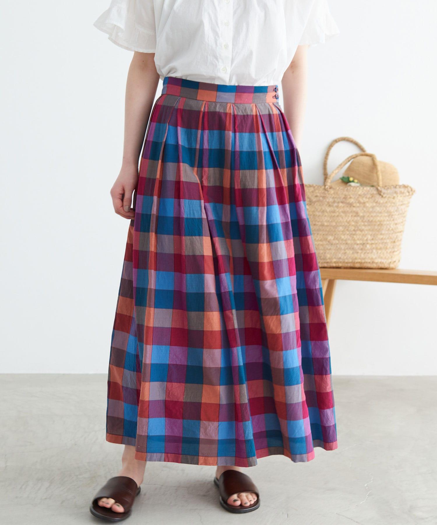 〇多色ウィンドウチェック スカート