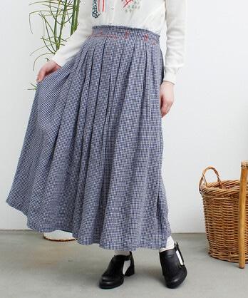 〇手仕事刺繍 ギンガムスカート