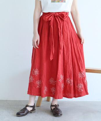 △〇花のスケッチ刺繍 スカート