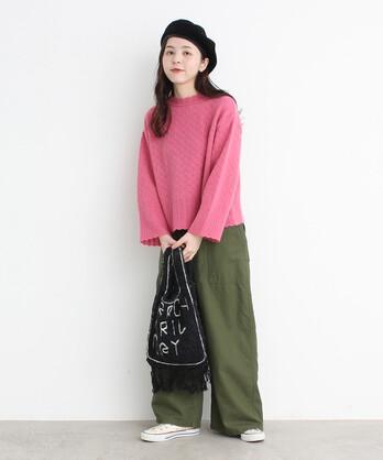 【予約販売】○透かし編みパッチワークプルオーバー