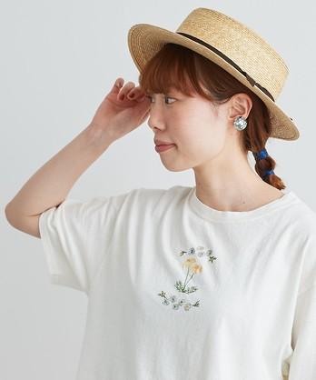 〇cdc ユーズド天竺 野花刺繍T