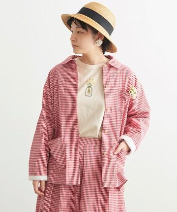 ○cdc ギンガムチェック 丸衿ジャケット