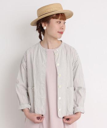 ●cdc 綿麻ストライプ シャツジャケット