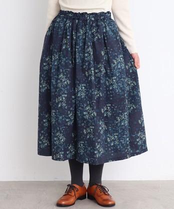 〇cdc COTTONドビー 秋のあしもとプリント スカート