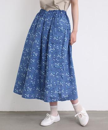○cdc 綿ドビー 野の花プリント フリルスカート