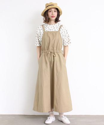 ○cdc 綿麻ライトバッグサテン ジャンパースカート