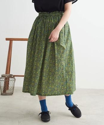 〇cdc ドビー コクリコプリント ギャザースカート