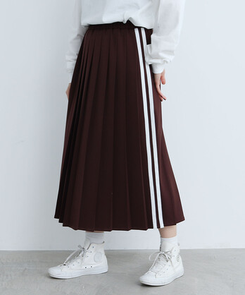 △〇サイドラインジャージ プリーツスカート【WEB限定色:PINK】