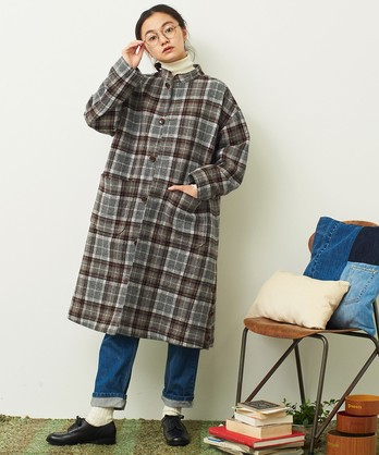 〇mat 英国羊毛風チェック スタンドネックコート